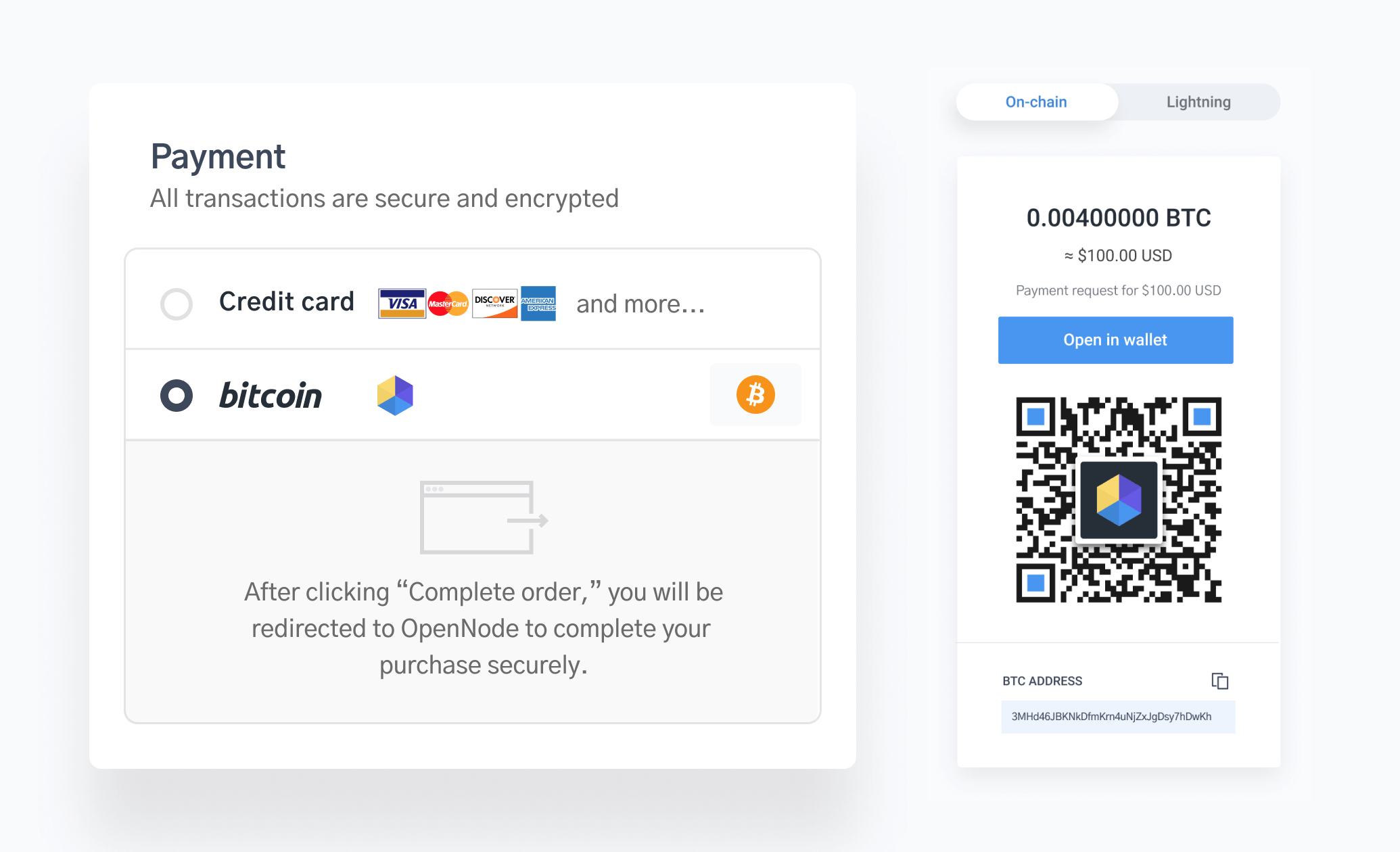 OpenNode payments dashboard