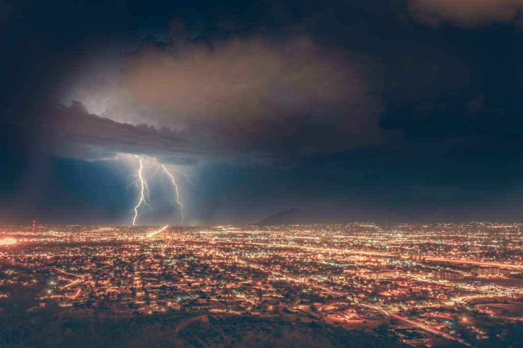 Lightning Strikes a City