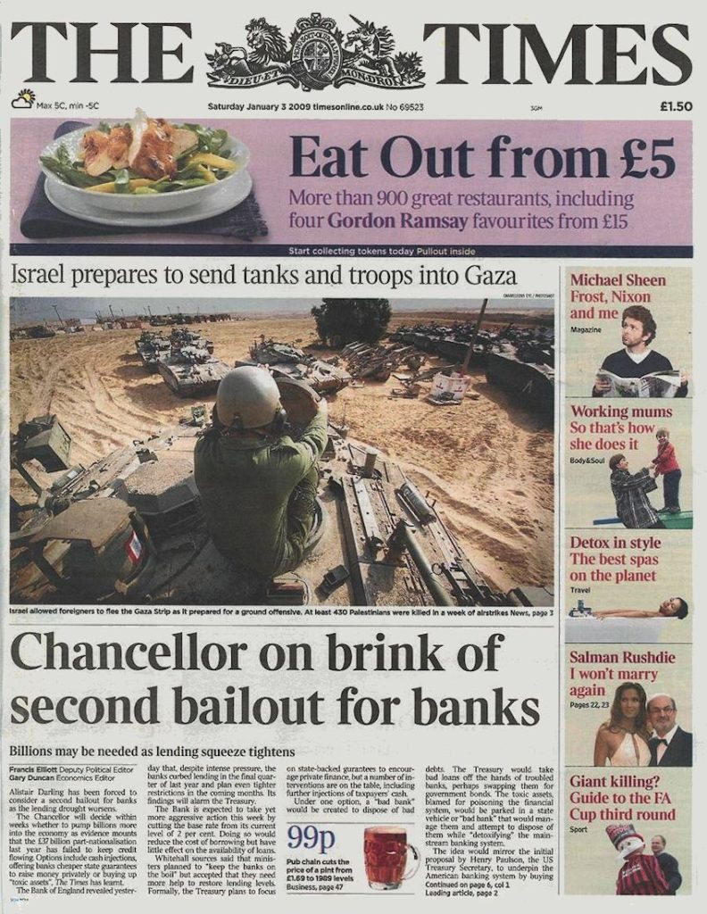 The-times-January-3-2009-Chancellor-on-brink-of-second-bail-out-for-banks