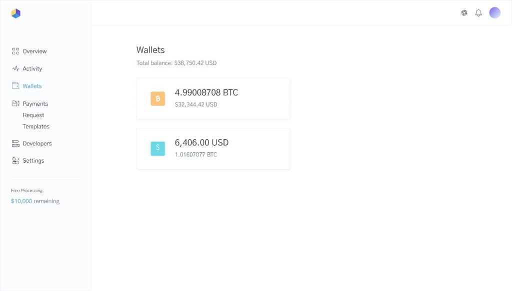 Image of wallets in OpenNode dashboard