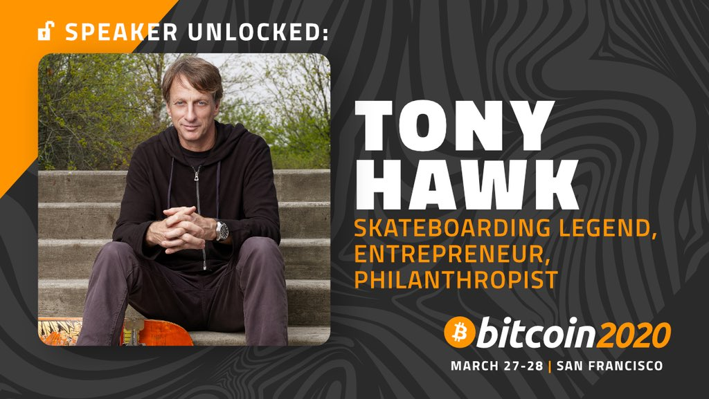 Image of Tony Hawk as a confirmed speaker for the Bitcoin 2020 Conference.