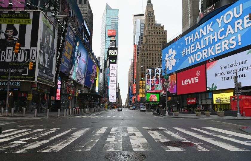 A photo of Times Square empty during global pandemic