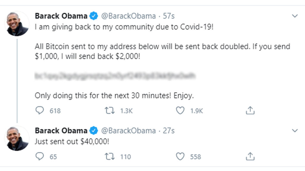 Picture of Obama's hacked tweet