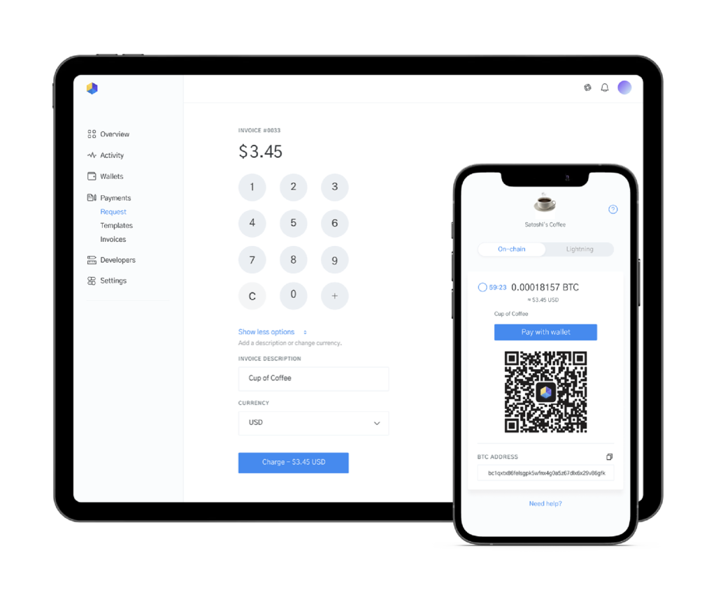 Image of tablet and iphone displaying POS for accepting Bitcoin payments in-person