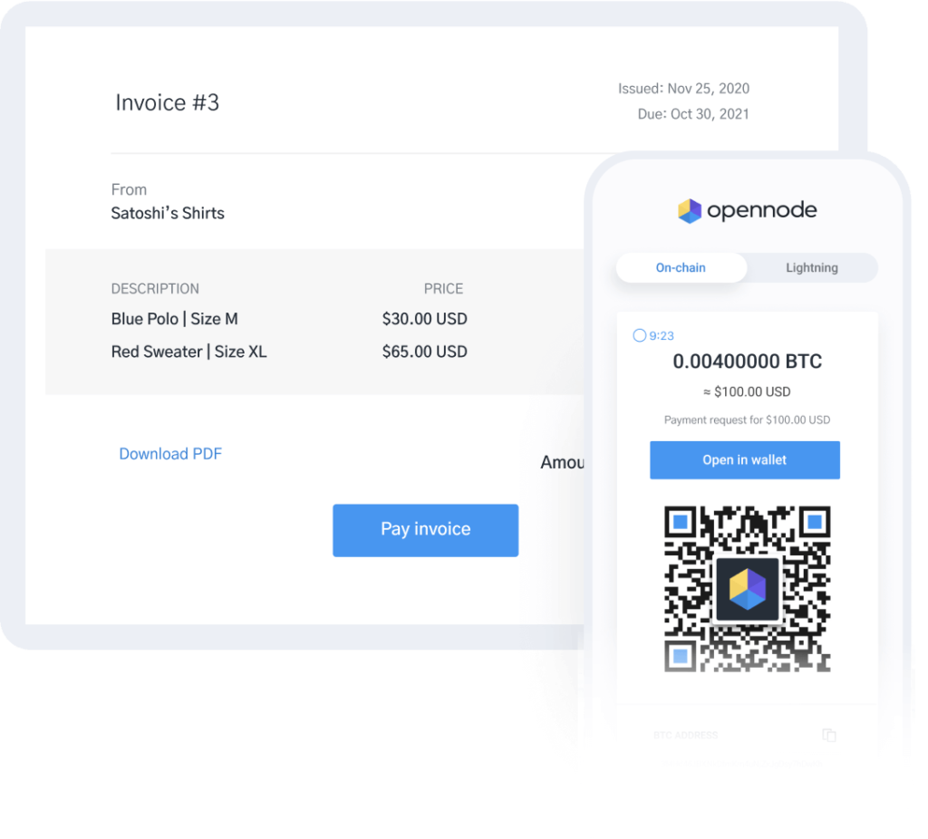 Image of OpenNode invoice to earn Bitcoin
